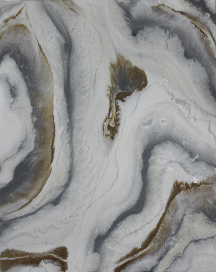 Gray Agate Geode 3 Painting by Kelly Gowan