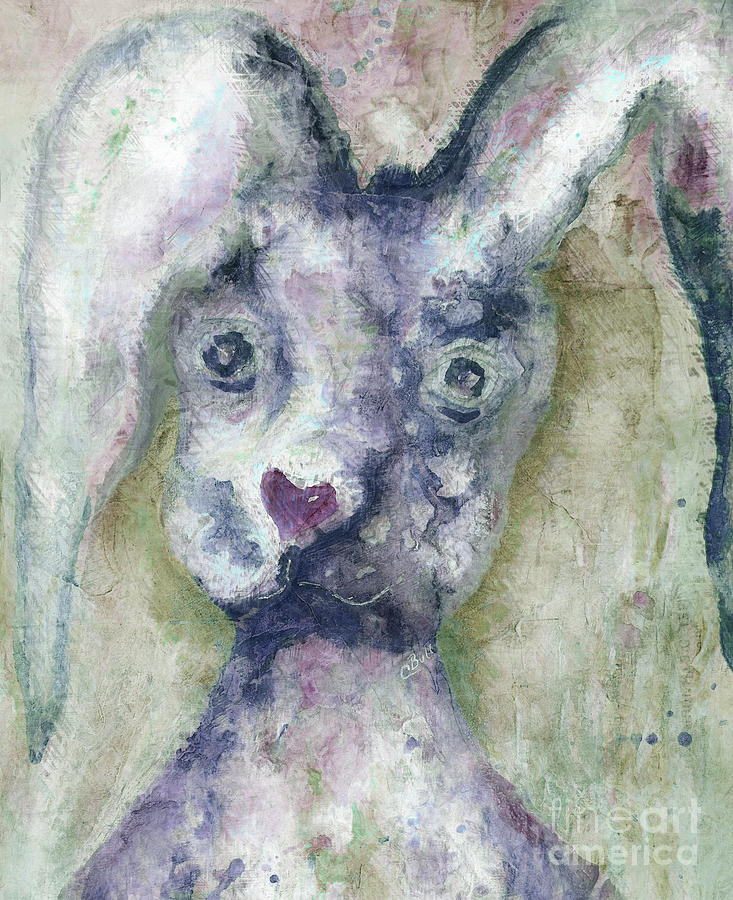 Bunny Painting - Gray Bunny Love by Claire Bull