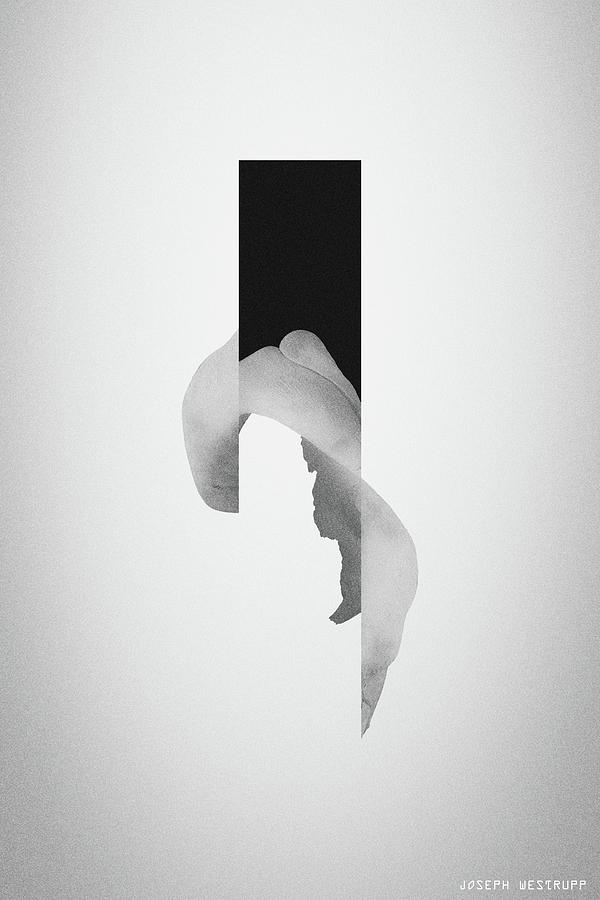 Gray Powder Bone Flare - Surreal Abstract Elephant Bone Collage With Rectangle by Joseph Westrupp