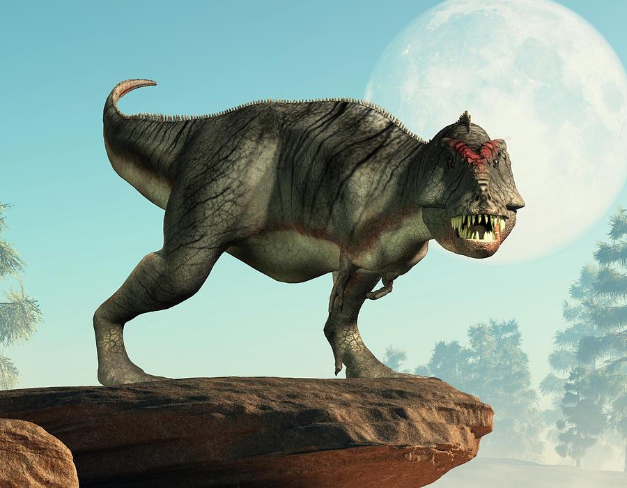 Gray Tyrannosaurus Rex On A Cliff Digital Art