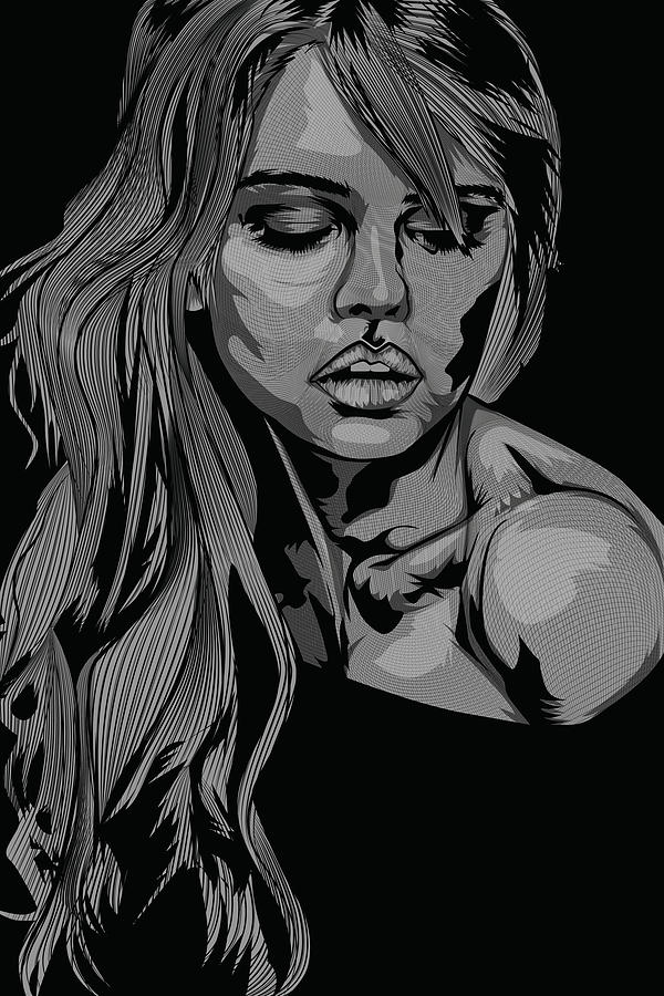 Grayscale Digital Art Sketch