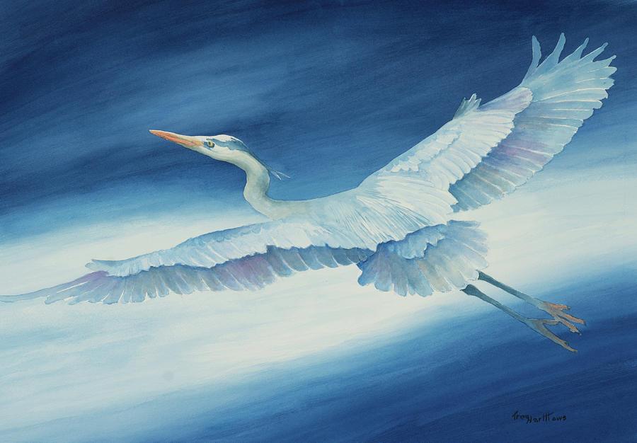 Great Blue Heron in Flight by George Harth