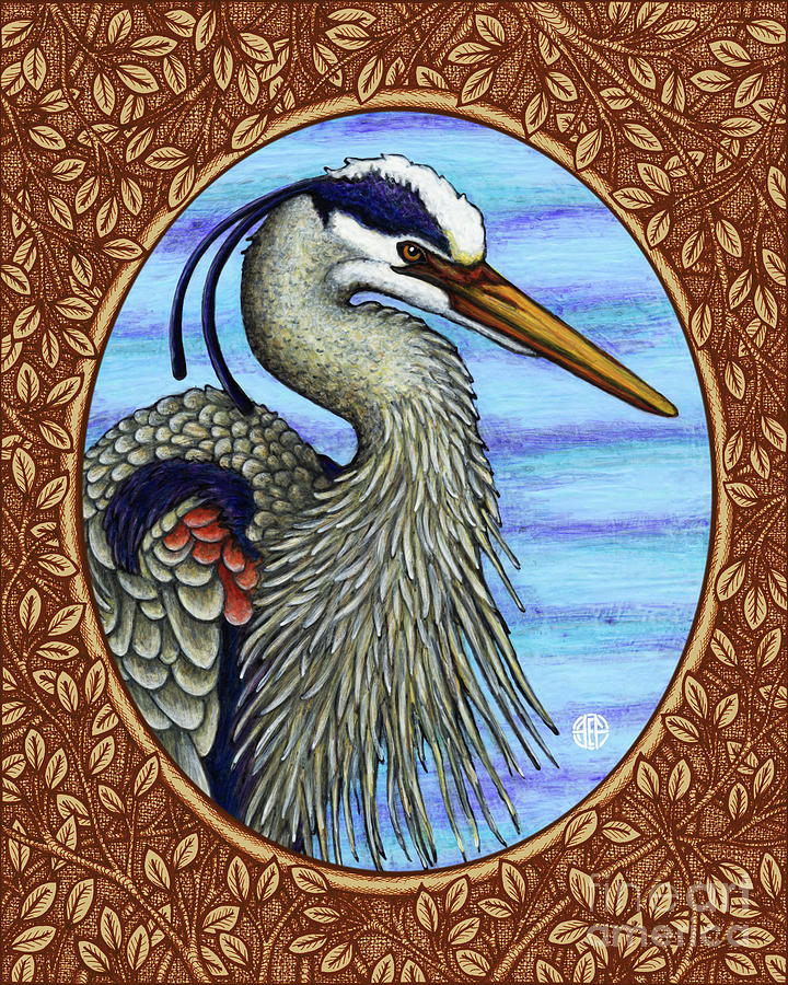 Great Blue Heron Portrait - Brown Border by Amy E Fraser