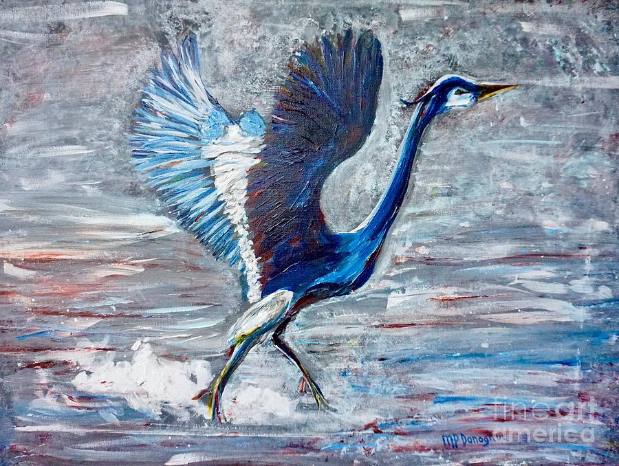 Great Blue Heron Taking Flight From Water Painting