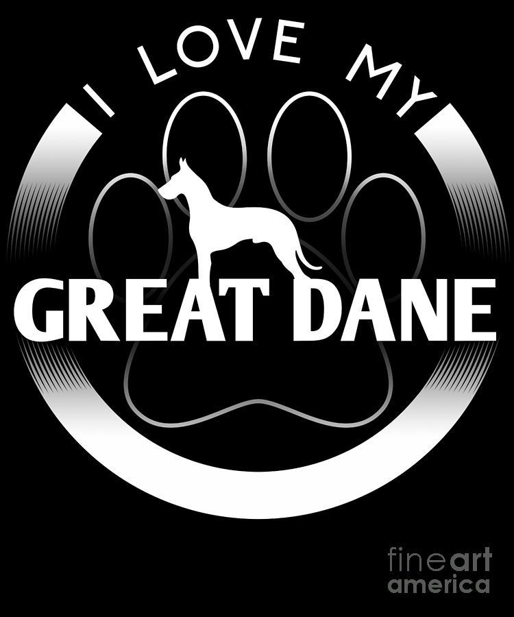 Nice Great Dane Design I Love My Great Dane Circle Paw Simple Logo YO04