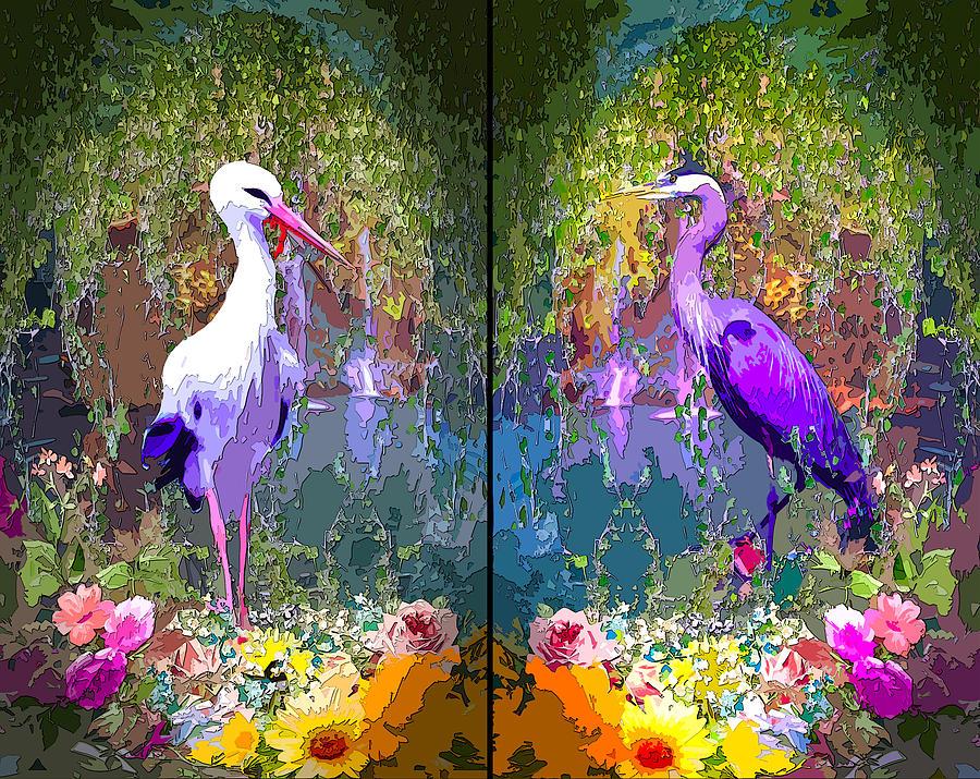 Great egret Heron Bird by MARIA ROM