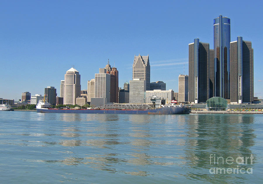Great Lakes Freighter Passing Detroit Photograph