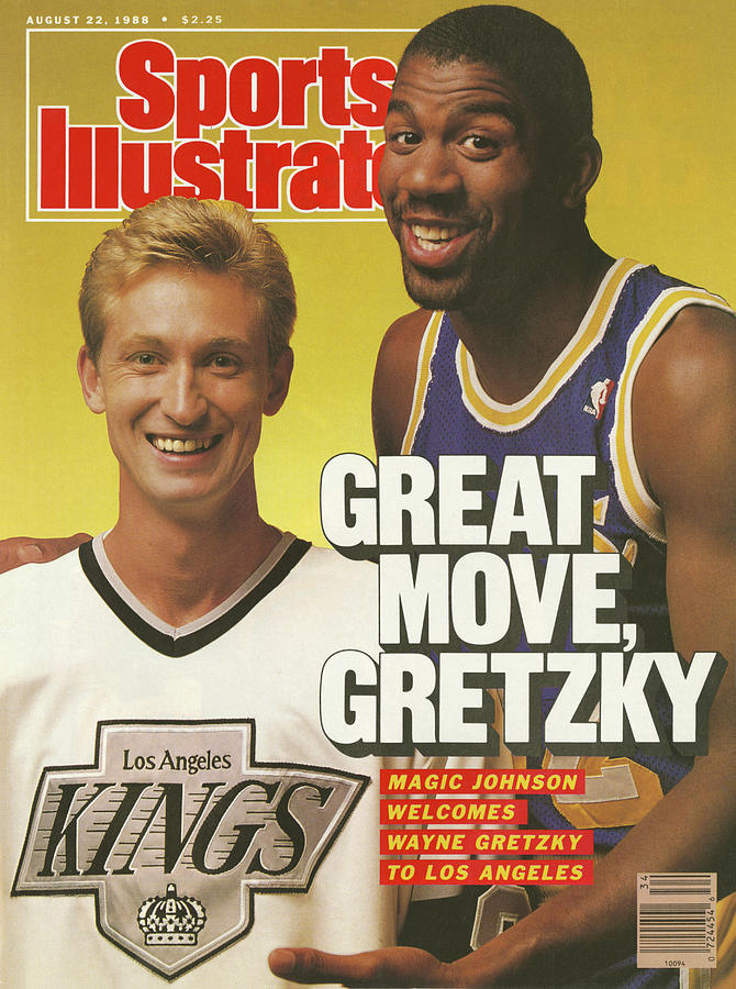 Great Move, Gretzky Magic Johnson Welcomes Wayne Gretzky To Sports Illustrated Cover Photograph by Sports Illustrated