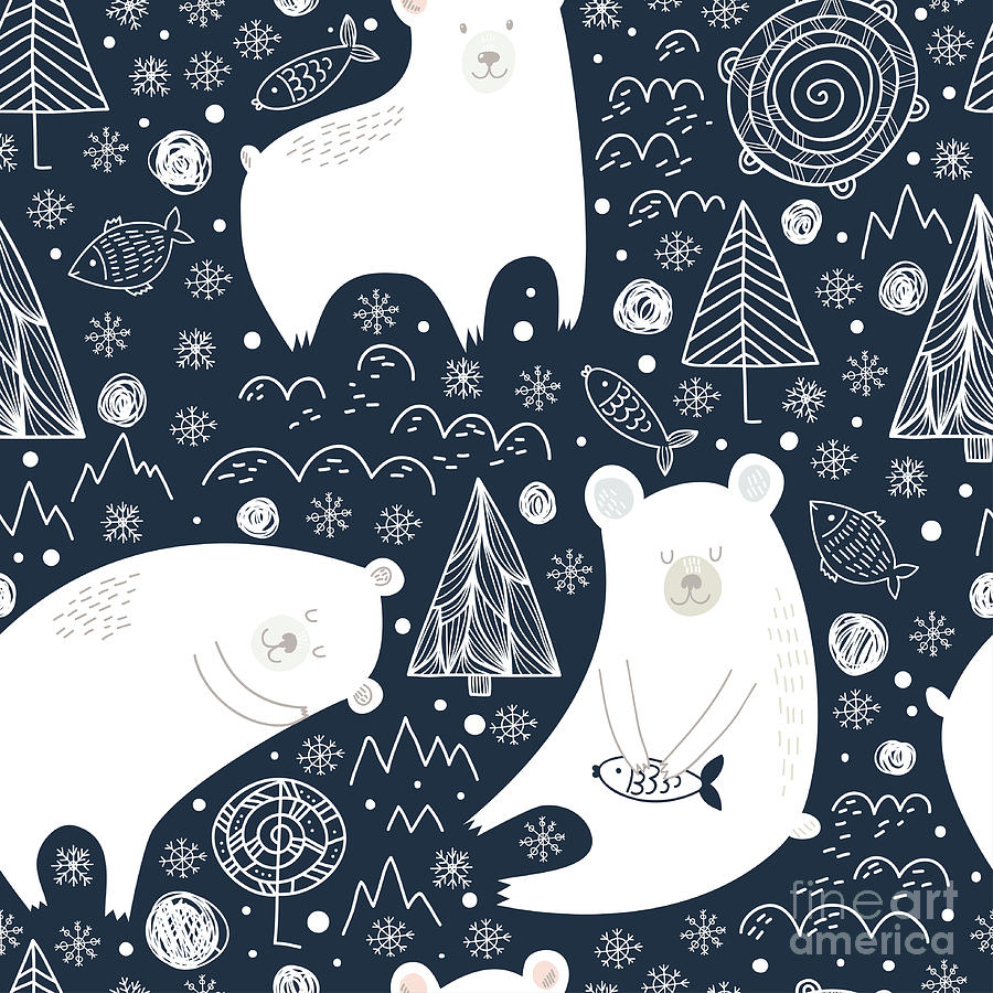 Fur Digital Art - Great Seamless Pattern With Cute Polar by Veron ice
