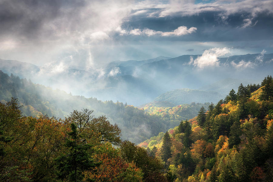 Great Smoky Mountains Cherokee North Carolina Blue Ridge Parkway Scenic Landscape Photograph