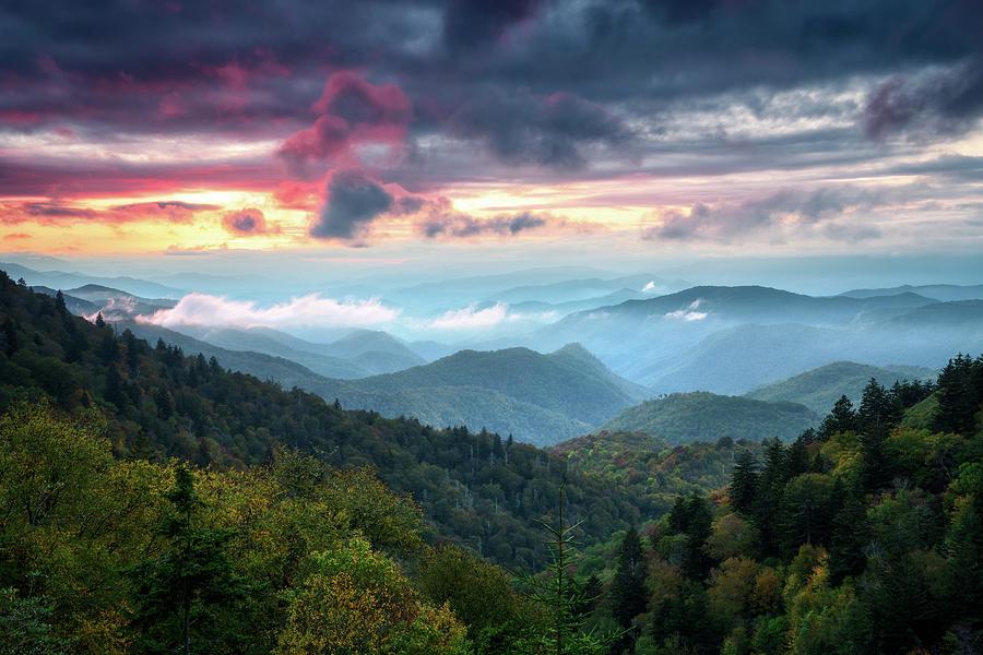 Great Smoky Mountains Sunset Landscape Cherokee North Carolina Photograph