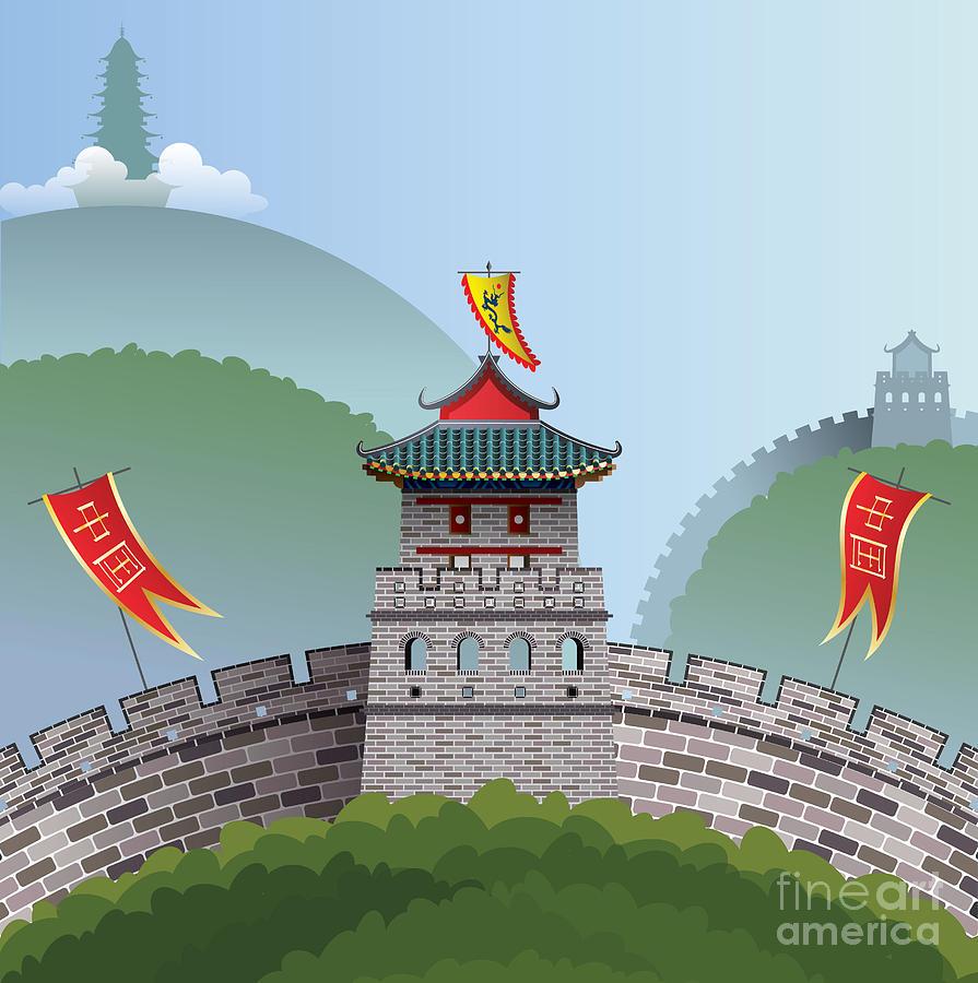 Illustrations Digital Art - Great Wall Of China by Nikola Knezevic