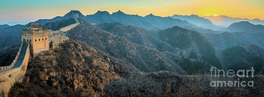 Asia Photograph - Great Wall Panorama by Inge Johnsson