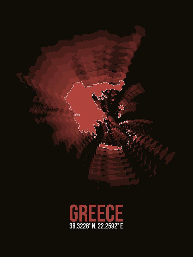 Greek Digital Art - Greece Radiant Map 3 by Naxart Studio