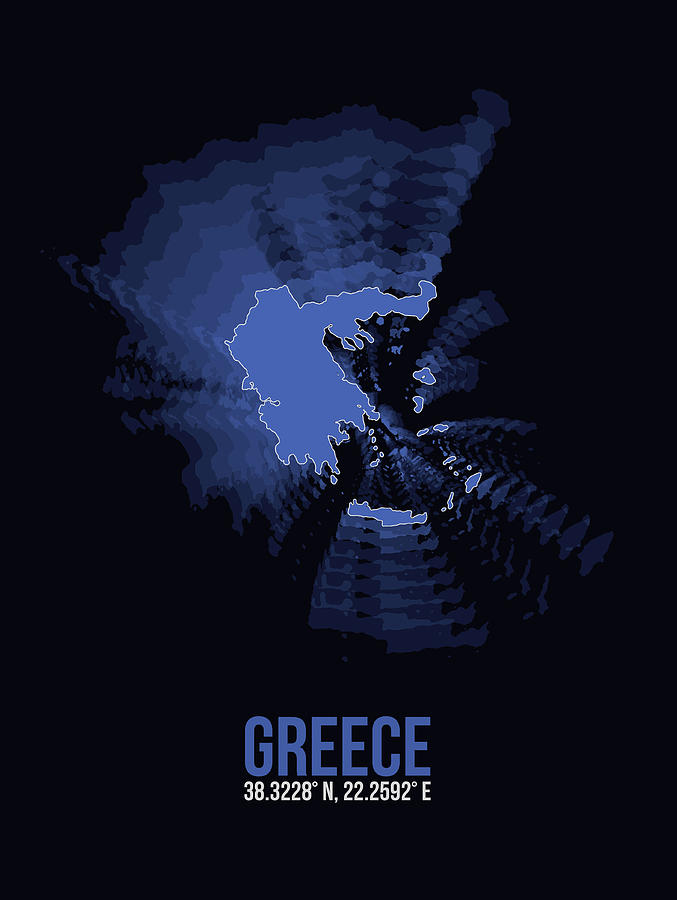 Greek Digital Art - Greece Radiant Map II by Naxart Studio