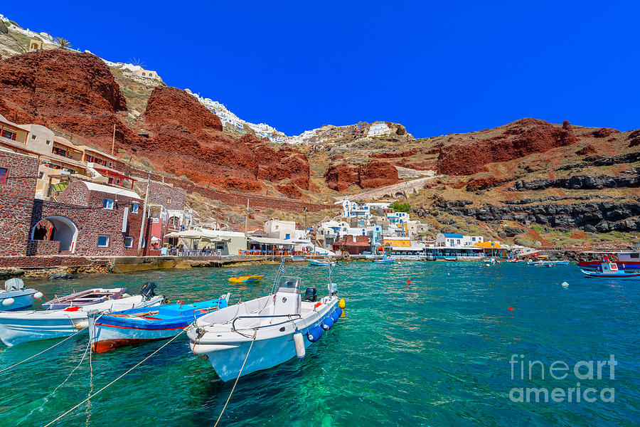 Atmosphere Photograph - Greece Santorini Island In Cyclades by Korpithas