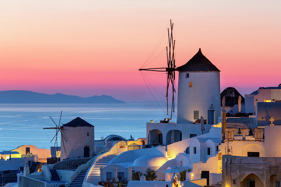 Greece, Santorini, Oia Town At Sunset Photograph by Sylvain Sonnet