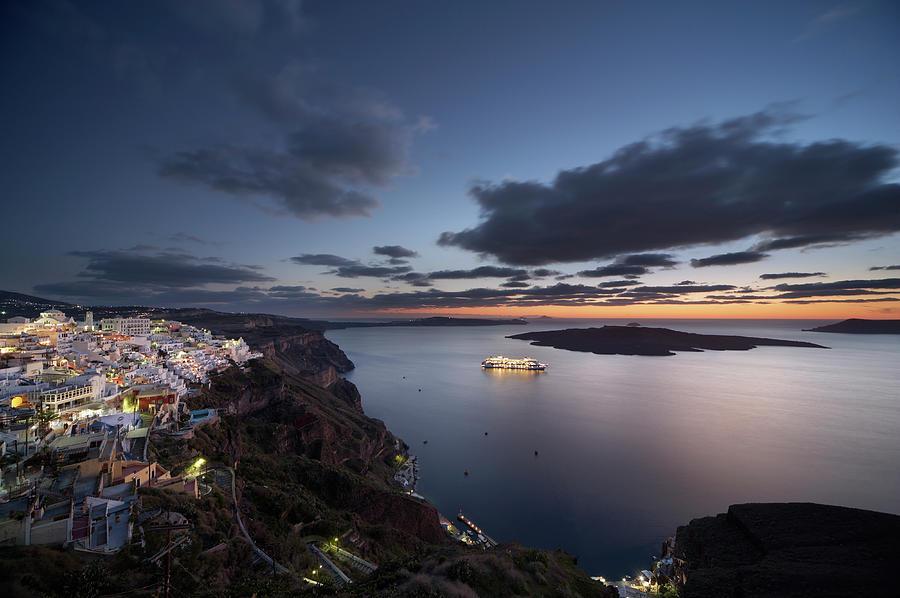 Greece, Santorini, Town Of Fira, Island Photograph by Guy Vanderelst