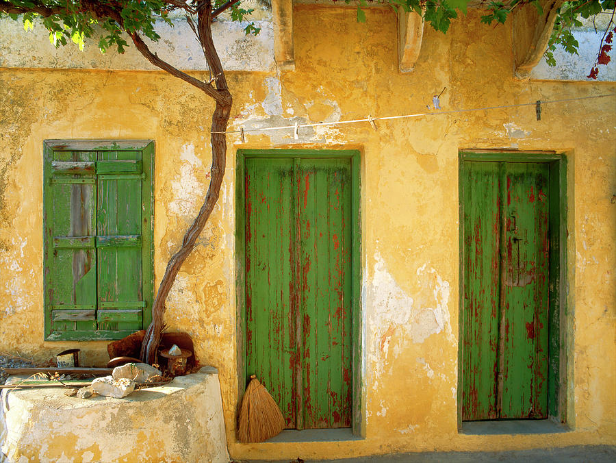 Blue Photograph - Greece, Symi Blue Doors And Stairway by Jaynes Gallery