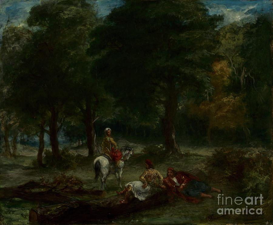 Greek Cavalry Men Resting In Forest Drawing by Heritage Images