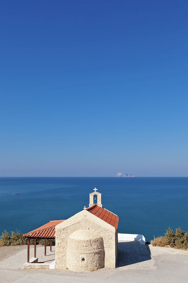 Greek Chapel And The Sea, Crete Photograph by Saro17