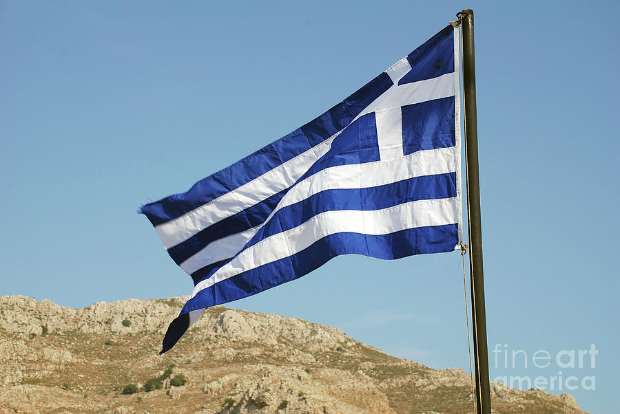 Greek flag on Tilos by David Fowler