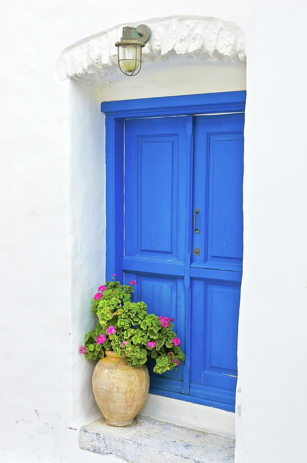 Greek Island Doorway Photograph by Abzee