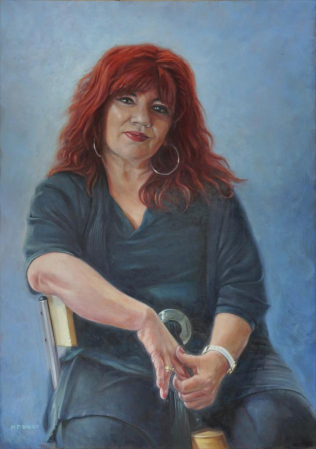 Greek lady on stool portrait. by Martin Davey