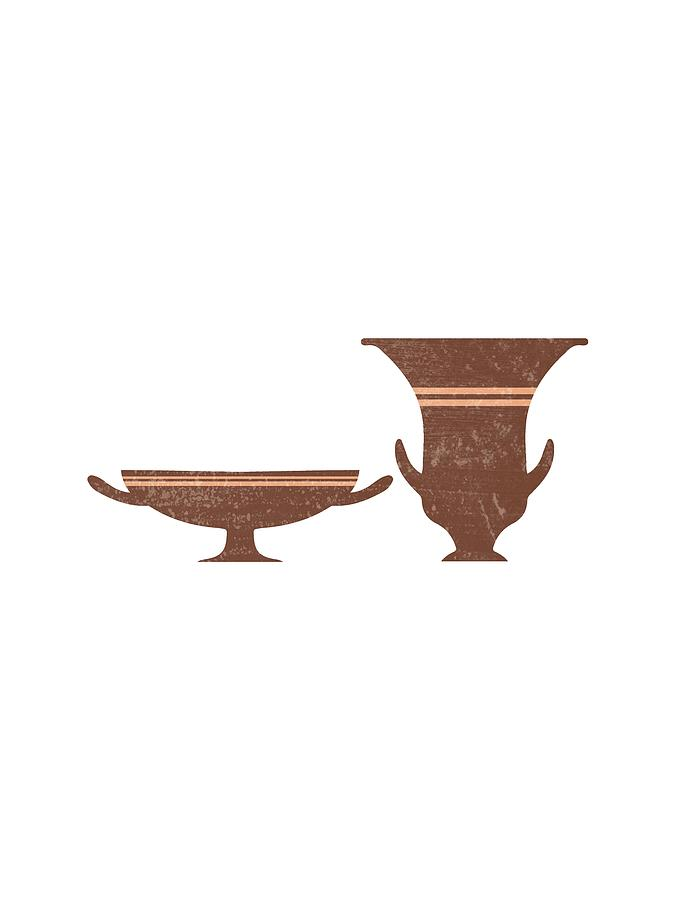 Greek Pottery 35 - Bell Krater, Kylix - Terracotta Series - Modern, Contemporary, Minimal Abstract Mixed Media