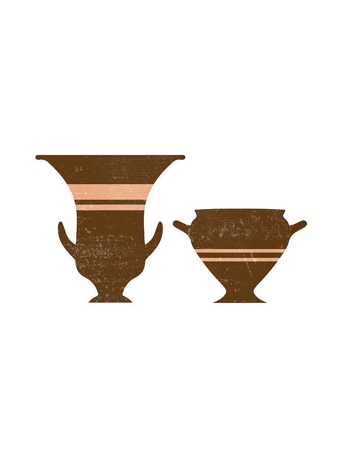 Abstract Mixed Media - Greek Pottery 36 - Bell Krater - Terracotta Series - Modern, Contemporary, Minimal Abstract - Auburn by Studio Grafiikka