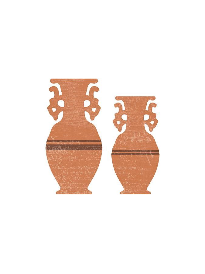 Greek Pottery 37 - Amphorae - Terracotta Series - Modern, Contemporary, Minimal Abstract - Sienna Mixed Media
