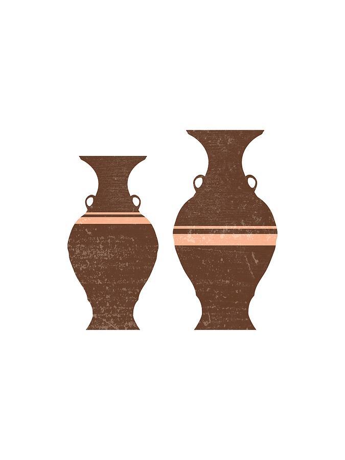 Greek Pottery 38 - Hydria - Terracotta Series - Modern, Contemporary, Minimal Abstract - Auburn Mixed Media