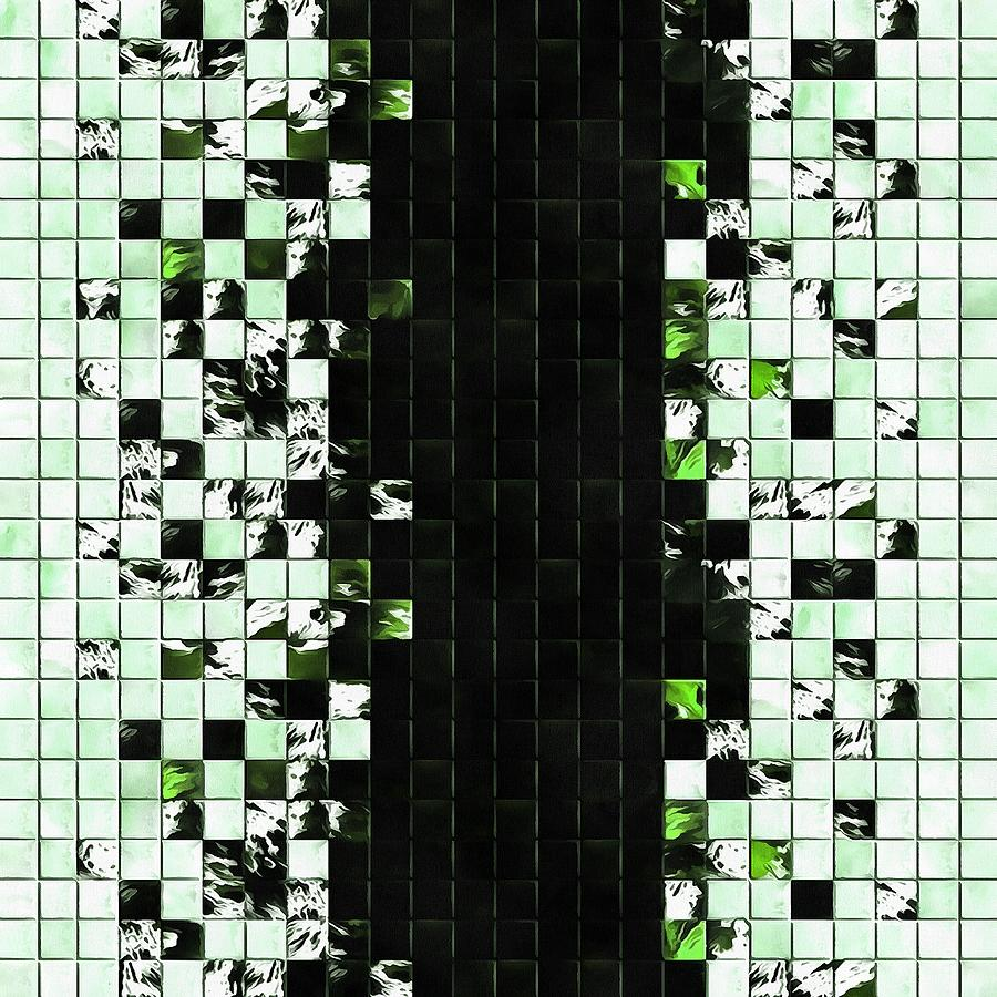 Green Accent Black And White Square Tiled Ceramic Mosaic Pattern  by Taiche Acrylic Art