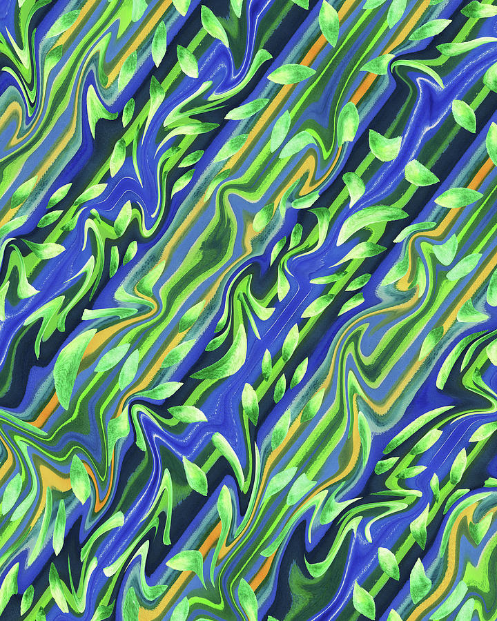 Green And Blue Organic Meditative Pattern Iv Painting