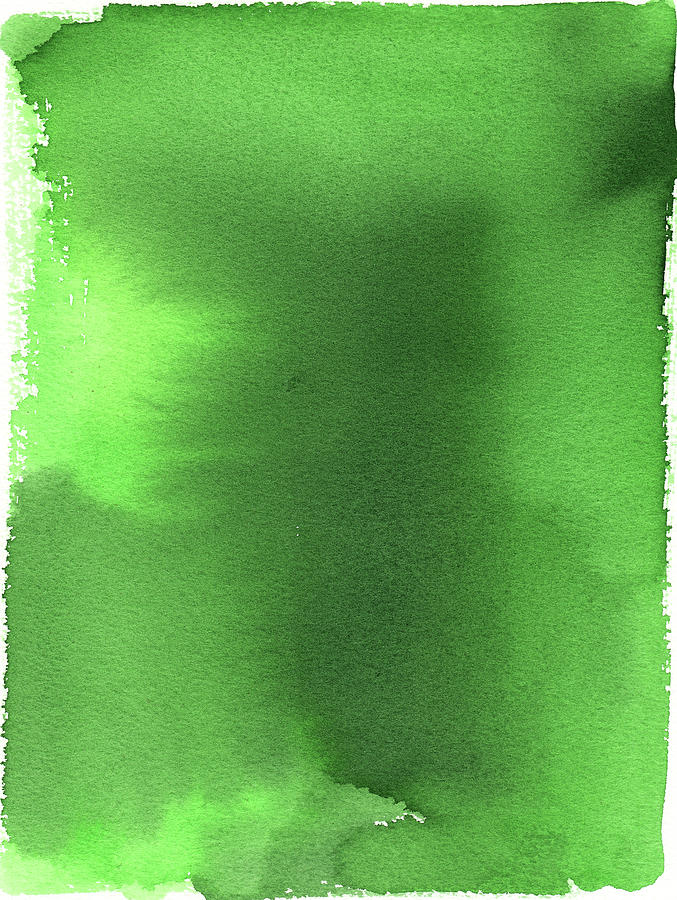 Green Background Watercolor Painting Digital Art by Taice