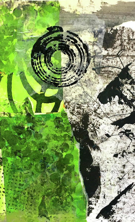 Green Collage Painting - Green Balance No. 3 by Nancy Merkle