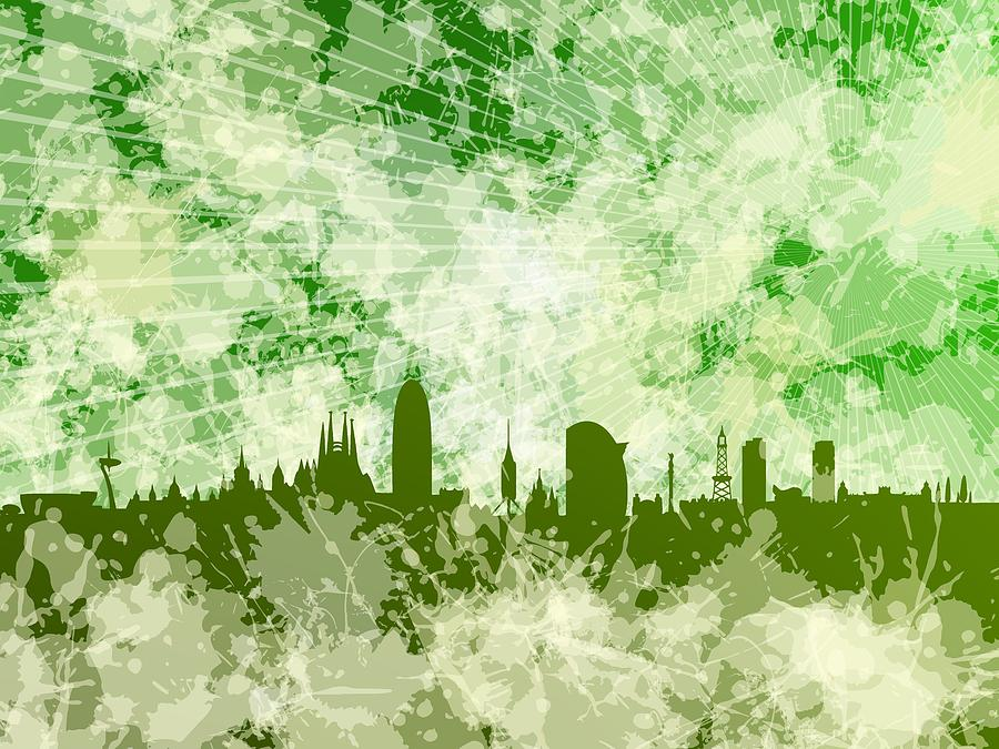 Green Barcelona skyline by Alberto RuiZ
