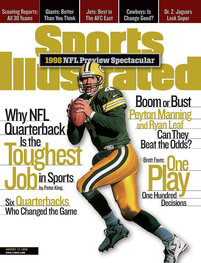 Green Bay Packers Qb Brett Favre, 1998 Nfl Football Preview Sports Illustrated Cover Photograph by Sports Illustrated