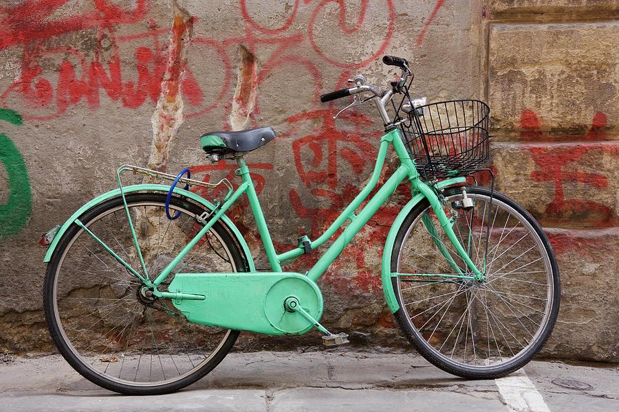 Green Bike And Graffiti Photograph by Jeremy Woodhouse