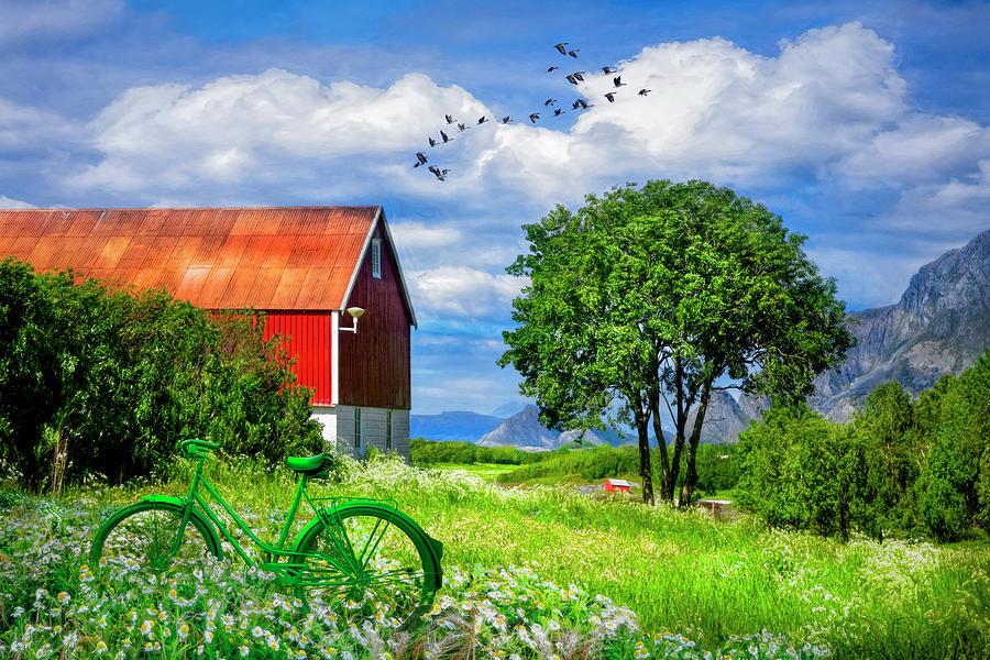 Barns Photograph - Green Bike On The Farm by Debra and Dave Vanderlaan