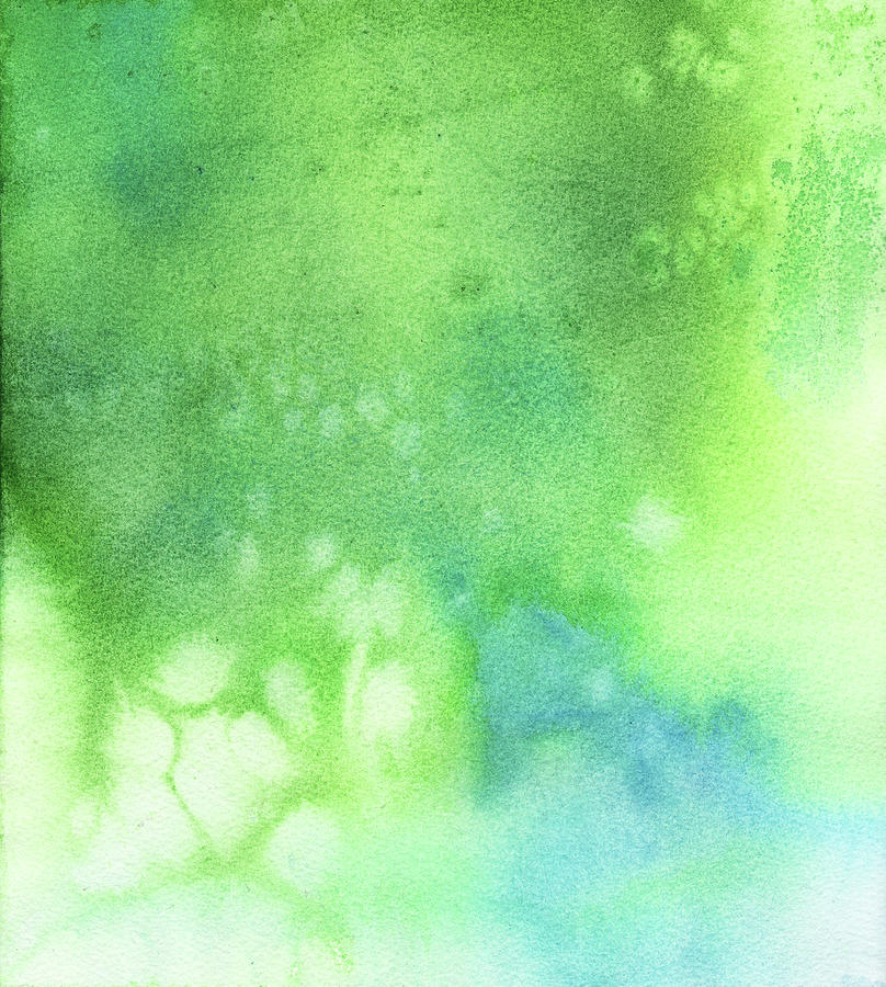 Green Blue Background  Watercolor Digital Art by Taice