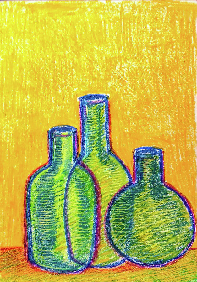 Green bottles by Asha Sudhaker Shenoy