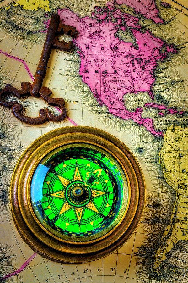 Compass Photograph - Green Compass And Old Key by Garry Gay