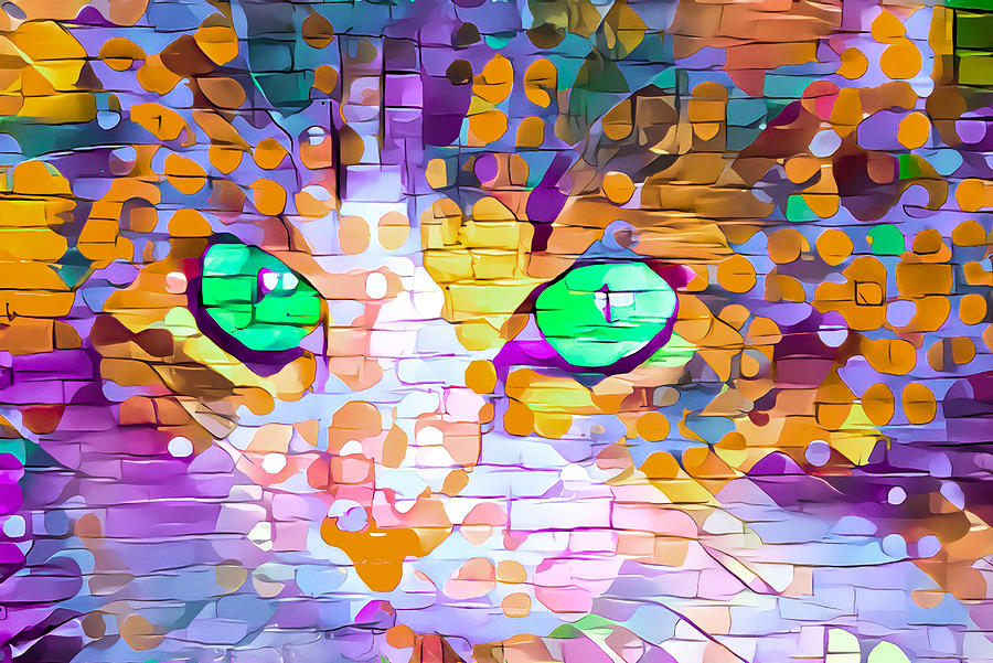 Green Eyed Cat Abstract by Don Northup