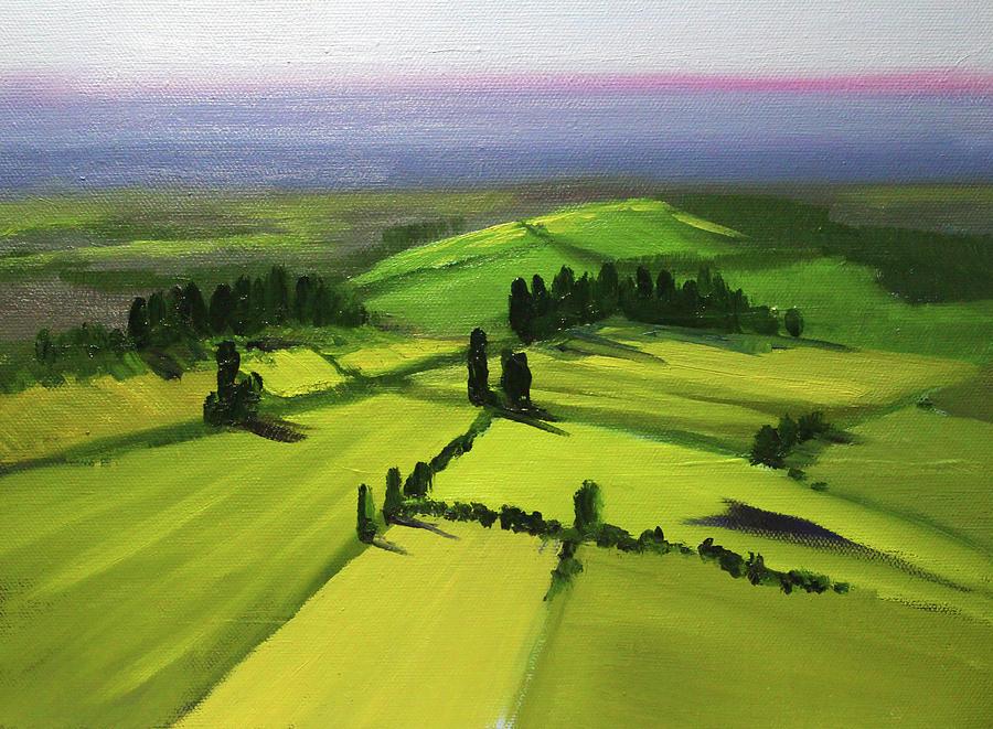Green Fields Painting by Nancy Merkle