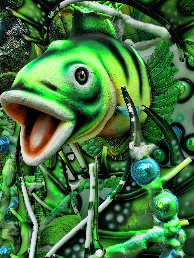 Green Fish Ornament for a Latin Dance by David Smith