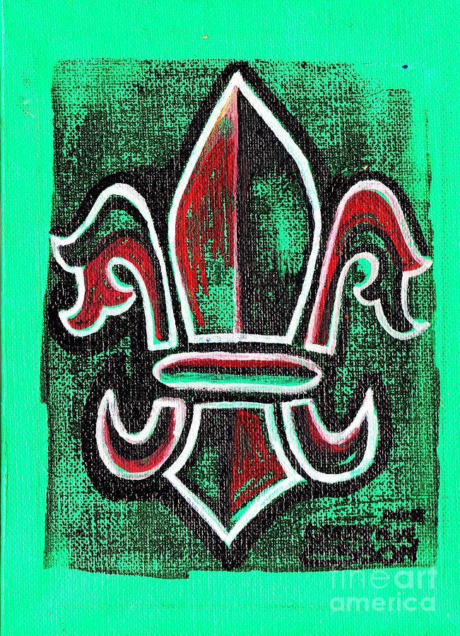 Green Fleur De Lys Painting