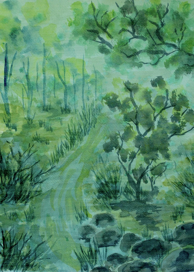Traditional Painting - Green Forest by ZeichenbloQ