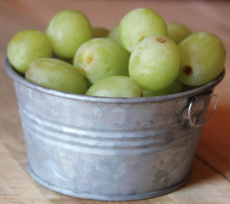 Green Grapes In Metal Tub Photograph