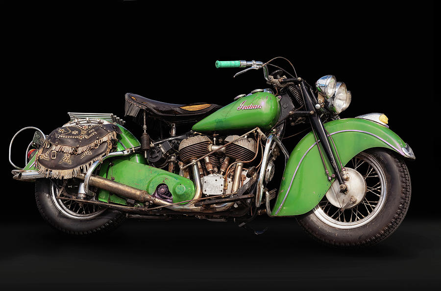 Green Indian Bonneville Chief by Andy Romanoff